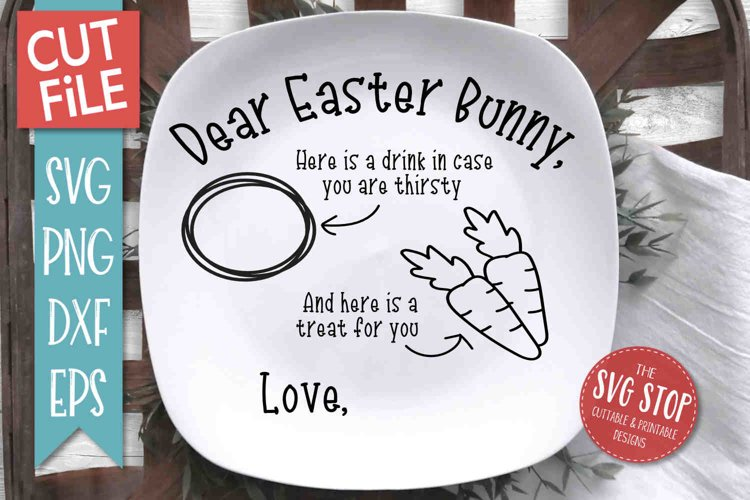 Easter Bunny Plate SVG, PNG, DXF, EPS