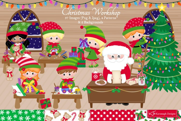 Christmas clipart bundle, Santa clipart, Elf clipart -C42