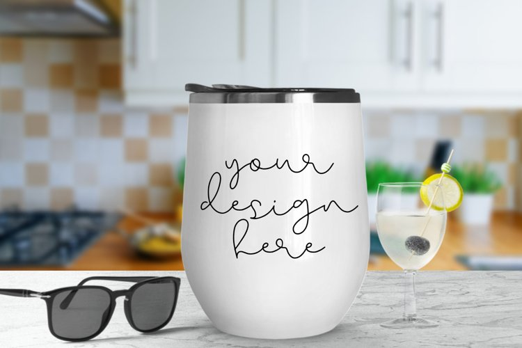 White Tumbler Mock Up With Kitchen Background - 1080x720px