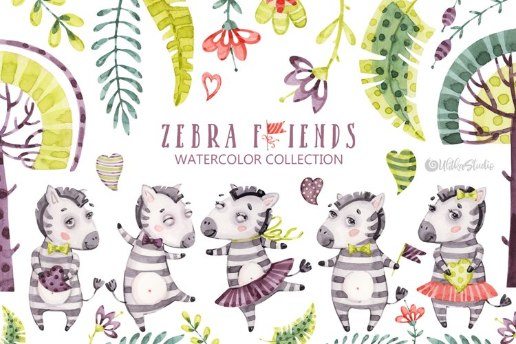 Cute Zebra. Kids horse. Watercolor baby animals clipart example image 1