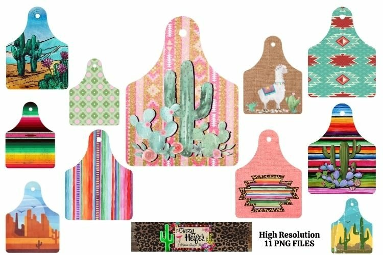 Cattle cow ear tags Southwestern Dye Sublimation PNG example image 1