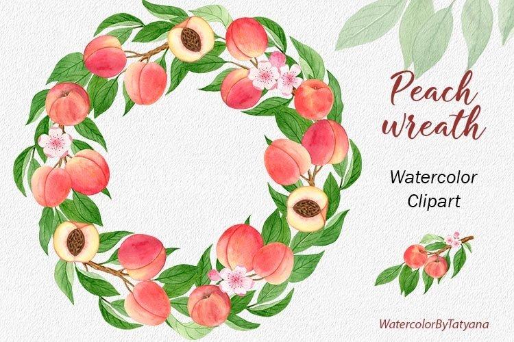 Watercolor peach wreath. Thanksgiving wreath. Summer peaches