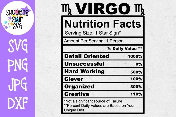 Virgo Zodiac Sign Nutrition Facts SVG - Virgo SVG