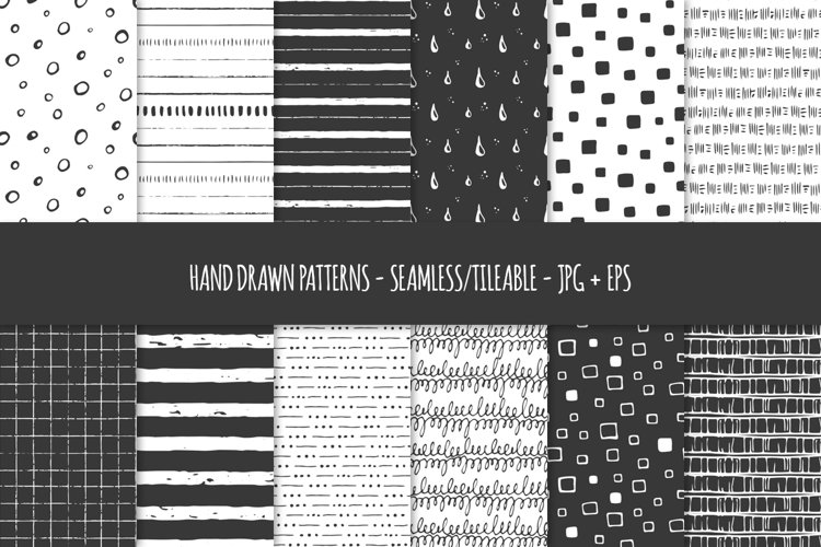 24 Hand Drawn Seamless Patterns. Abstract Vector Doodles. 03 example image 1