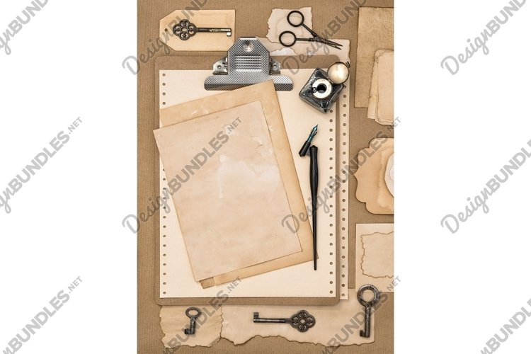 Paper, clipboard and calligraphic writing tools Flat lay JPG example image 1