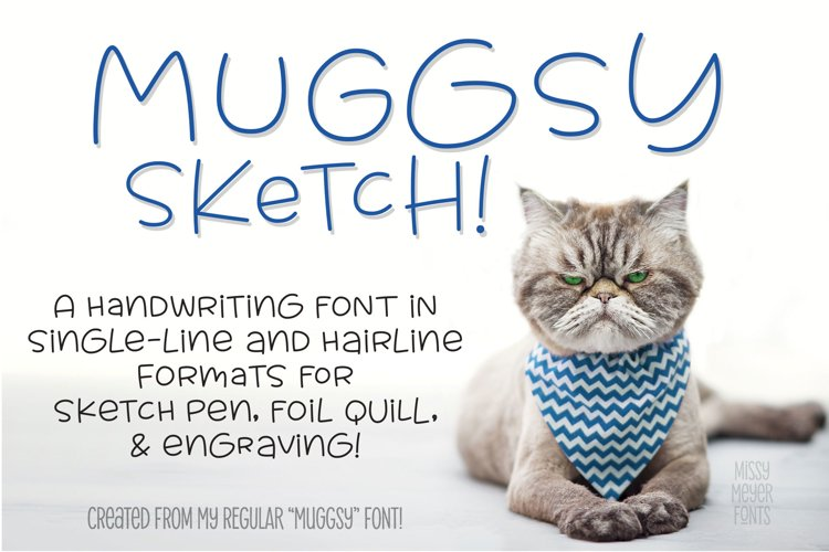 Muggsy Sketch - a quirky fun single-line hairline pen font! example image 1
