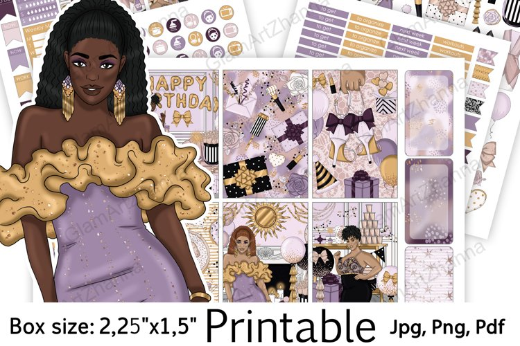 "Happy Birthday African American Printable Size 2,25""x1,5"" example image 1"