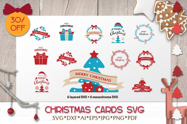 Christmas SVG Bundle | Greeting Cards with Quotes example image 1