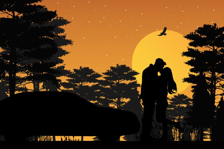 silhouette of couple in love example image 1