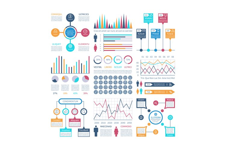 Infographics template. Financial charts, trends graph. Popul example image 1