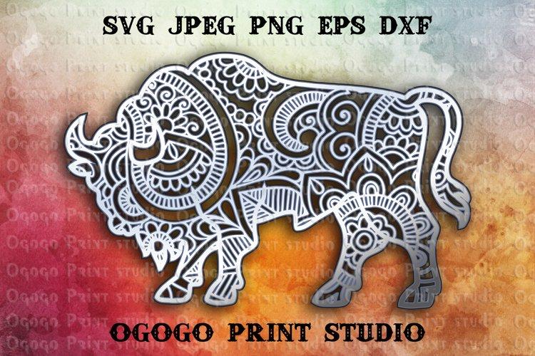 3D Layered Bison Mandala Svg, Zentangle SVG, Animal Svg