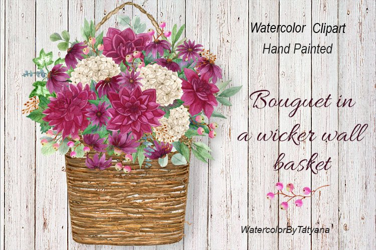 Watercolor woven wall basket with autumn flowers. Bouguet