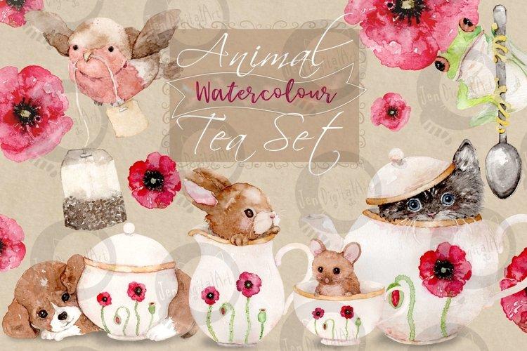 Animal Tea Set | 8 Watercolor Clipart Illustrations- PNG/JPG