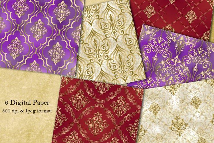 Damask seamless pattern collection. Scrapbook paper. Vintage