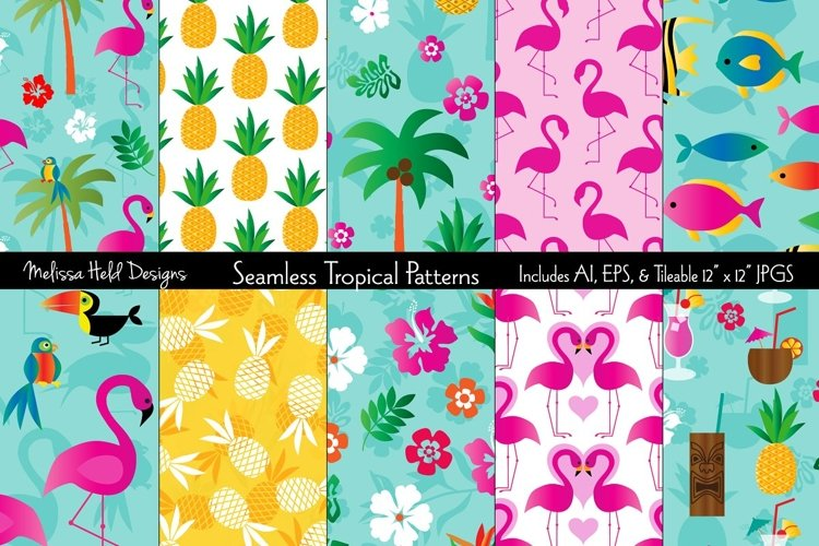 Seamless Tropical Flamingo & Pineapple Patterns example image 1