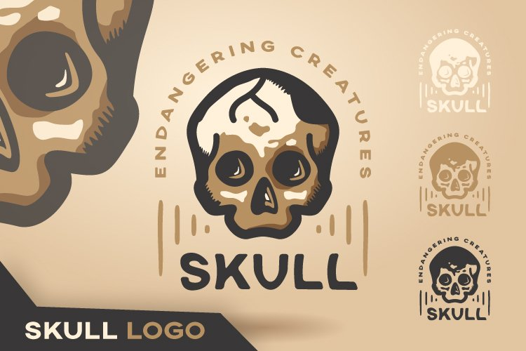 Vintage Logo for Abstract Dangerous Skull
