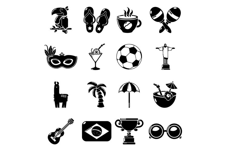 Travel Brazil icons set, simple style example image 1