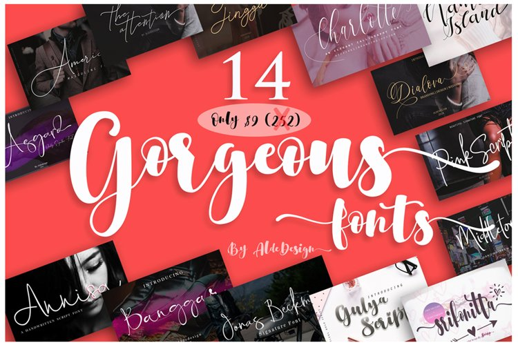 Gorgeous Bundle - 14 Fonts in 1 Pack example image 1