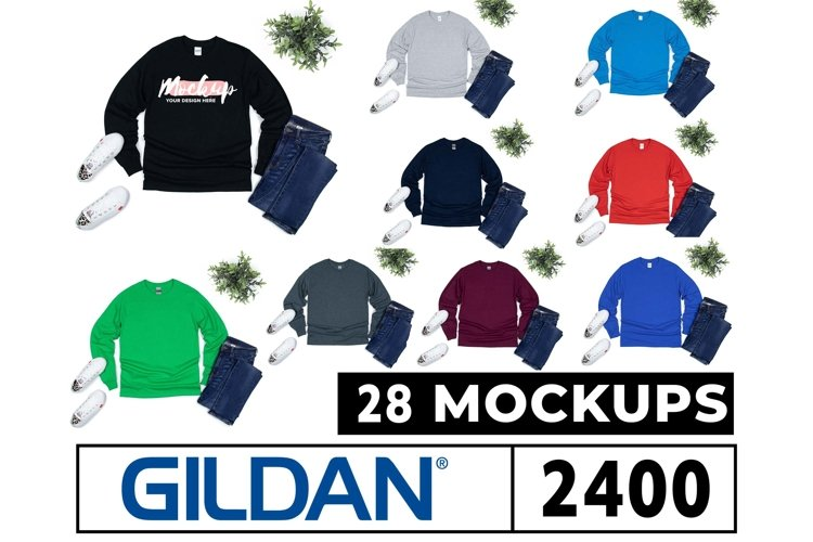 Gildan 2400 Long Sleeve Mockups 28 Colors Flat Lay White Bg