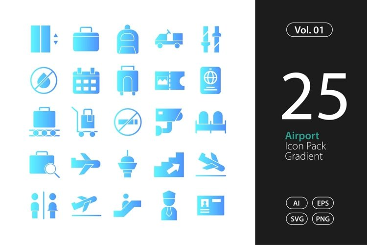 Airport Icon Gradient SVG, EPS, PNG