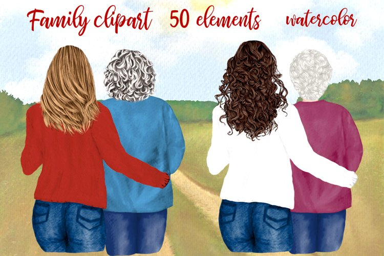 Mother and daughter, Granny clipart, Best friends back view example image 1