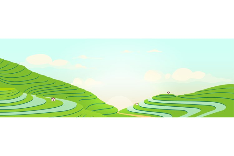 Terraced fields at sunrise flat color vector illustration example image 1