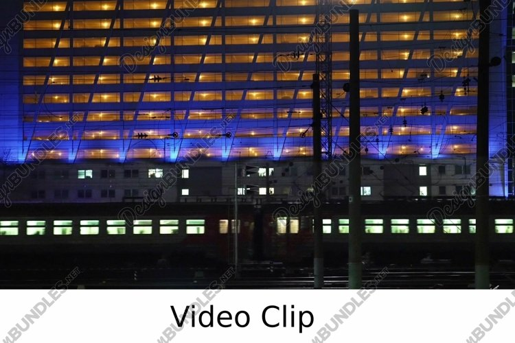 Video: Timelapse of commuter train in the city at night example image 1