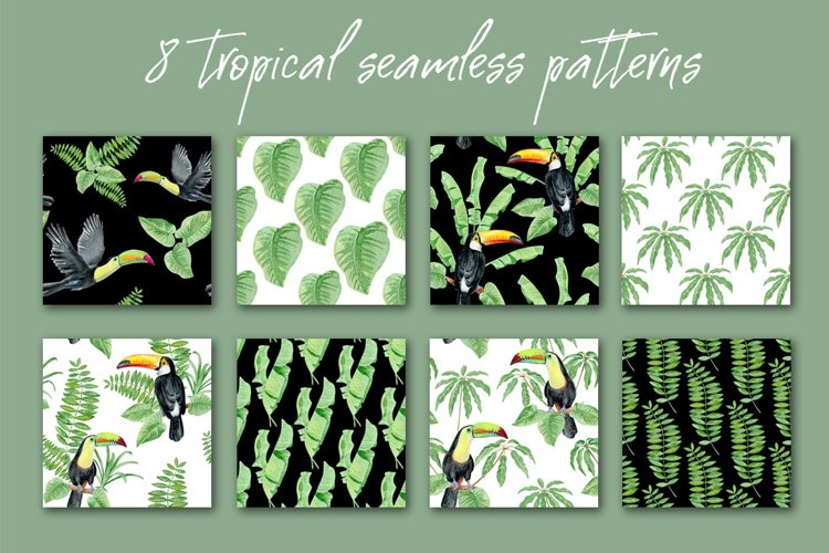8 watercolor tropical seamless patterns example image 1