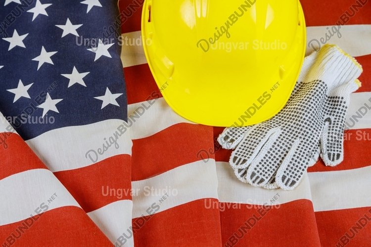 Flag of United States of Happy Labor Day sign yellow helmet