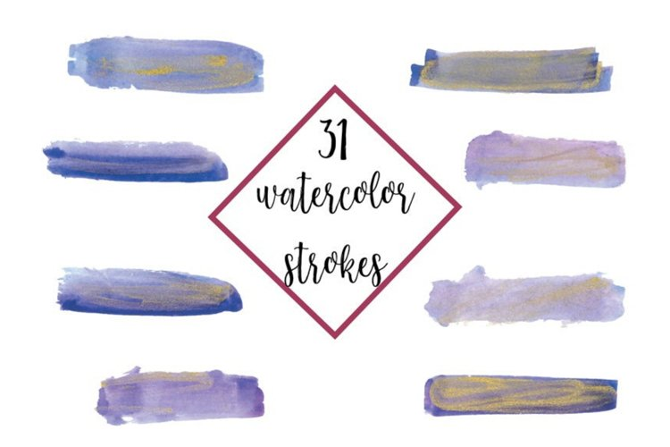 Watercolor Paint Strokes Purple Violet with Gold, 31 Waterco example image 1