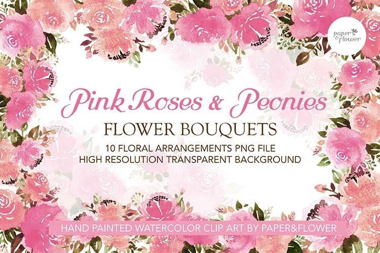 Pink Rose Floral Watercolor Bouquet Set