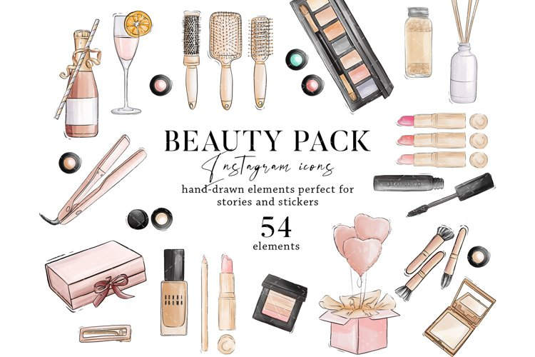 Makeup Beauty salon cosmetic watercolor clipart, Instagram example image 1