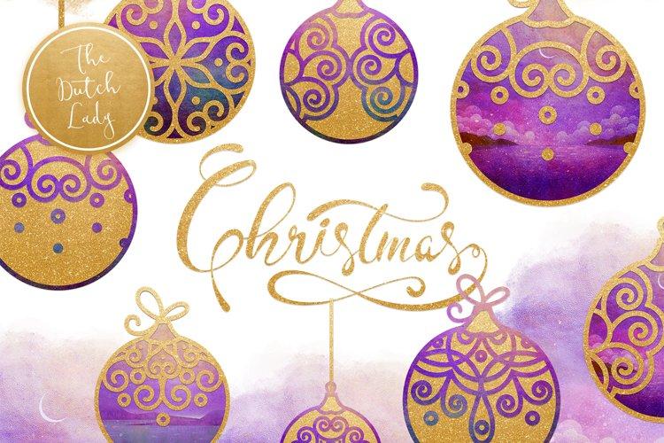 Christmas Balls Ornament Clipart Set example image 1