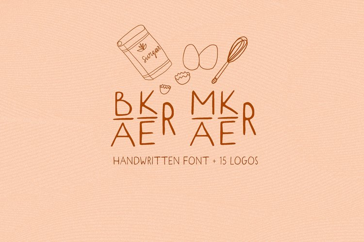 Baker Maker. Sans SERIF font. 15 Logos. Kitchen Doodles example image 1