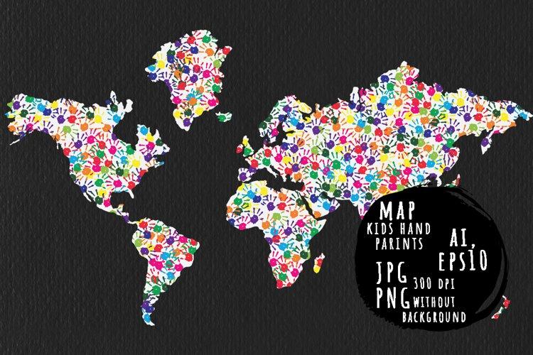 Classic kids hand prints rainbow map example image 1
