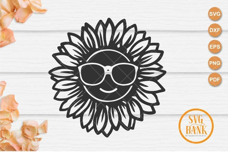 Sunflower with eyeglasses svg, sunflower glasses svg example image 1