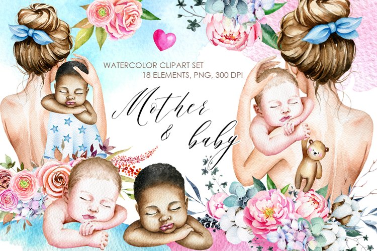 Mother and baby clipart, Watercolor baby clipart, Cute Baby