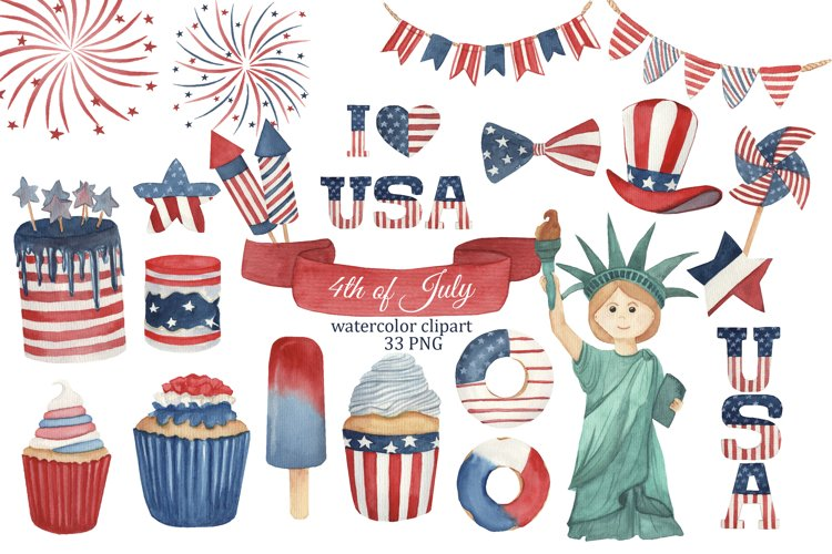 4th of July watercolor clipart, Independence day PNG, USA