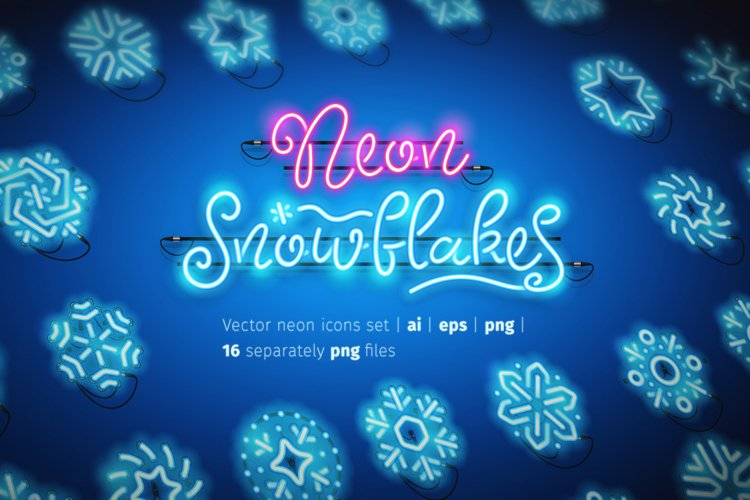 Christmas Colorful Neon Snowflakes
