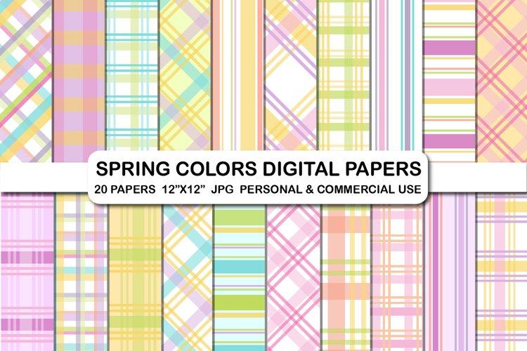 Easter plaid digital papers pack, Spring color digital paper