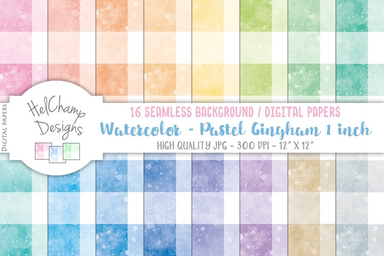 16 seamless Digital Papers - Pastel Gingham 1 inch - HC110