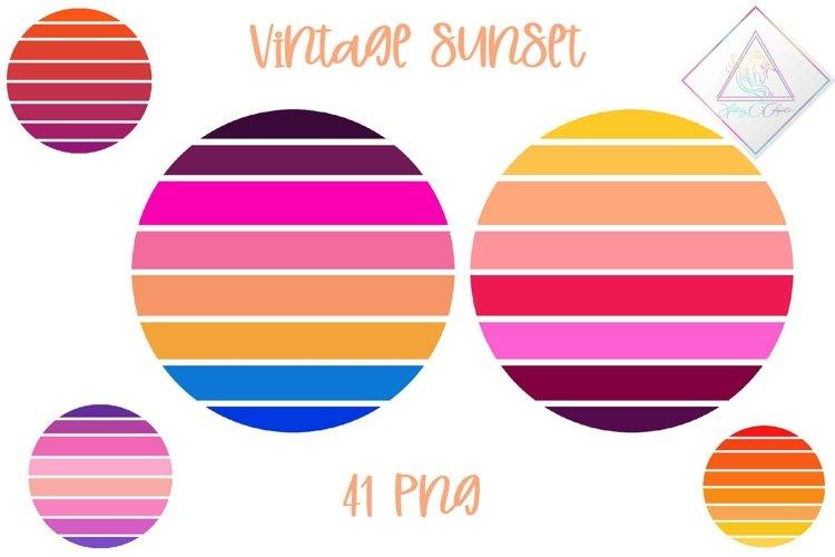 Vintage Sunset Clipart