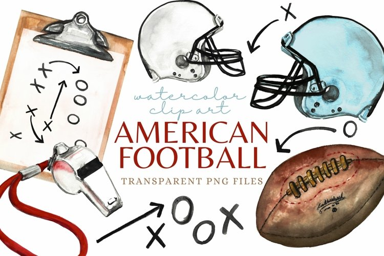 American Football Watercolor Clipart Sublimation Set Sports