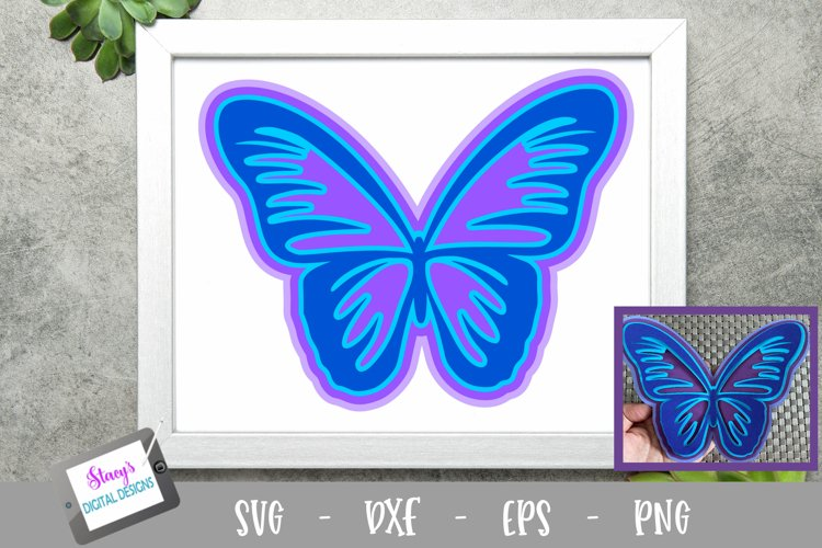 3D Layered Butterfly SVG Design
