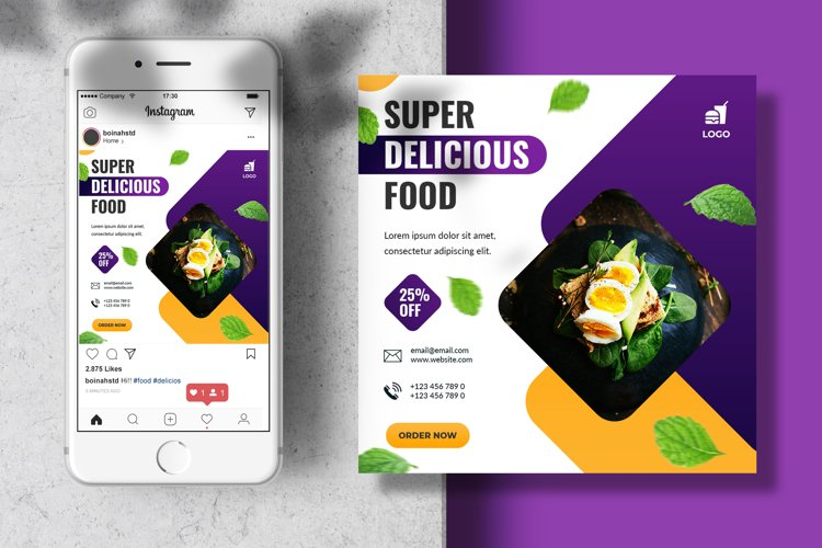 Food menu instagram feed banner template