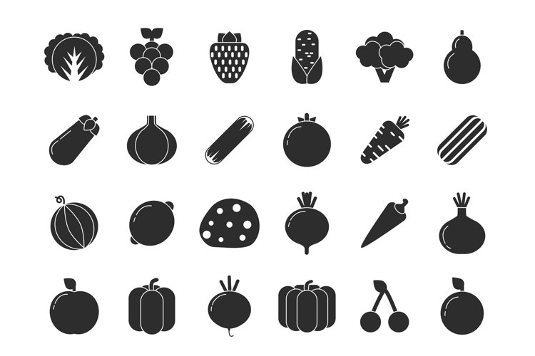 Different vegetables and fruits in flat style example image 1