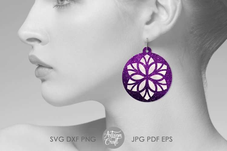 Earring template SVG, Floral earrings SVG example 4