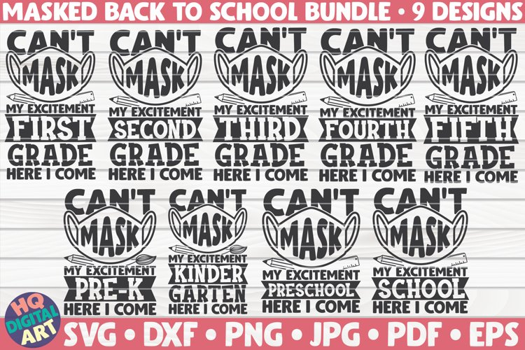 Can't mask my excitement Back to school SVG Bundle|9 designs example image 1