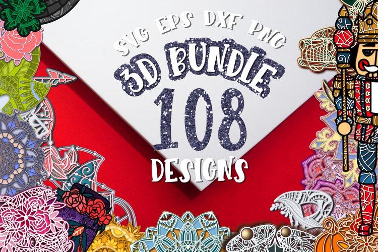 3D Bundle layered svg Papercut Set of 108 designs