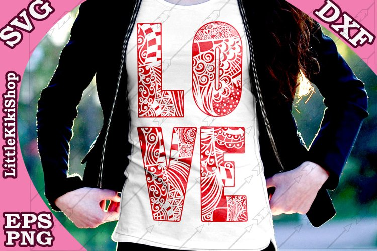 Love Svg,Love Cut Files,Mandala Love,Zentangle Love,Love Svg example image 1